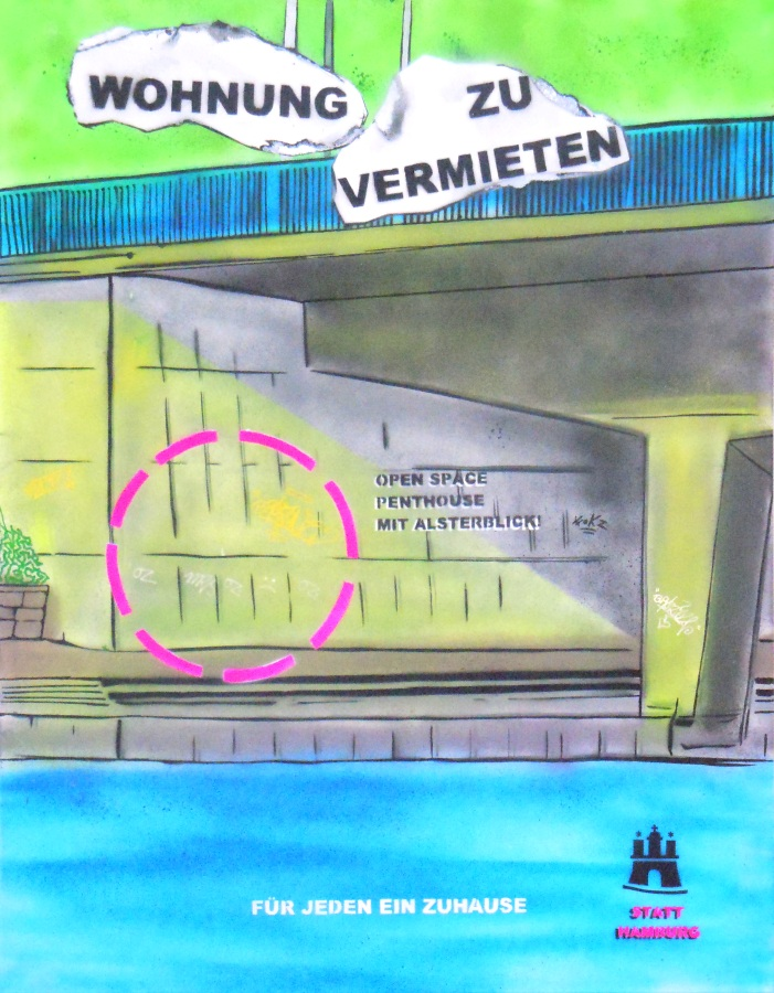 """Wohnung zu vermieten 2"" 80 x 100cm ""Rent a flat 2"""